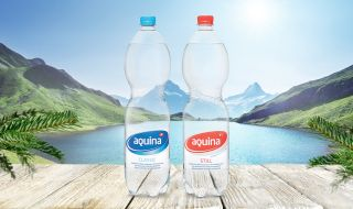 Aquina mineral water comes from deep within the Swiss Alps.