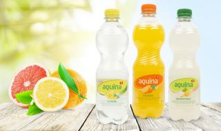 Fruity Aquina soft drinks with spring water from the Valais Alps.